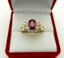 Vintage 14k Yellow Gold Oval Cut Red Spinel with Diamonds Accent Ladies Ring