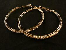 Ohrringe 24 Karat Vergoldet Valentinstag Strass Silber Creole Groß Damen