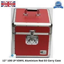 "1 NEO ROJO Aluminium DJ Almacenamiento X Funda De Transporte Para 100 Lp Vinyl 12"" registros Resistente"