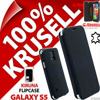 New Krusell Kiruna GENUINE LEATHER Flip Case for Samsung Galaxy S5 Cover Black