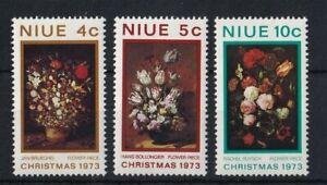 NIUE 1973 Christmas Flower Paintings Set MNH