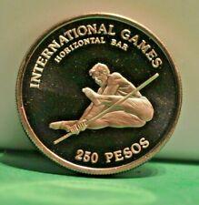 1984 GUINEA-BISSAU 250 PESOS PROOF HORIZONTAL BAR SPORT COIN CROWN
