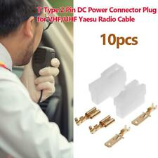 10 Sets T-Type 2 Pin DC Power Connector Plug for VHF/UHF Yaesu Radio Cable KIt