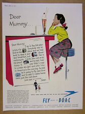 1951 BOAC British Overseas Airways young girl letter to mom vintage print Ad