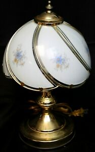 Glass Panel Lamp Shade Touch Gold-Tone White-Blue Flowers Swirl Gold Tone Lamp