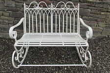 Shabby chic double metal rocking chair/bench in aged  antique cream