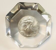 2000 Silver .999 1 Oz Eagle In Lucite, Paperweight, Diamond Millennium - No Res