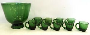 Large Punch Bowl And Cups Set Opaque Green Glass - T19
