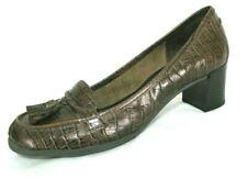 Nine & Co Shoes Sz 8 Pumps Croc Print Brown Leather Chunk Heel Loafers Tassels