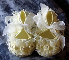 BAXTER'S BABY BLING. Romany Yellow Lace Christening, Wedding Shoes. 0-6 Months.