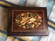 San Francisco Music Box Co. Jewelry Box Violin Burl Wood Italian Canon In D