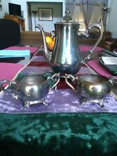 WM ROGERS 800 ANTIQUE 1847 VTG SILVERPLATE COFFEE/TEA  POT SUGAR BOWL CREAMER