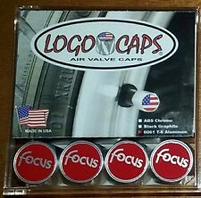 Logo Caps Red FOCUS Logo Tire Air Valve Cover Caps - Brushed Aluminum Finish