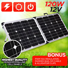 NEW MACHT 120W 12V FOLDING SOLAR PANEL KIT CAMPING POWER SOURCE CHARGE