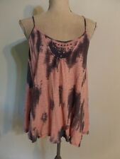Free People Pink/Steel Gray Tie Dye Grommet Detail Split Open Back Racer Tank  L