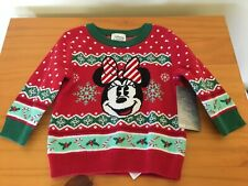 NEW Disney Store Minnie Mouse Holiday Sweater Pullover Baby Toddler Girls Red