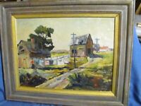 Vintage Oil Painting G.Garabedian Cottages On Hill Essex, MA Listed  (1892-1980)