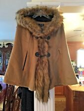 Faux FUR Trim CAPE Wool COAT Oversized HOOD,Toggle Closure CAMEL TAN SZ S NWT