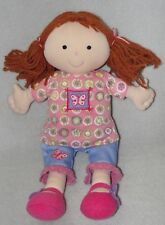 Kids Preferred Plush Doll Brown Yarn Hair Pig Tails Butterfly Soft Stuffed Toy