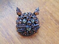 Vintage WARNER Cat Face Brown Rhinestone Brooch pin 1960's kitten head topaz