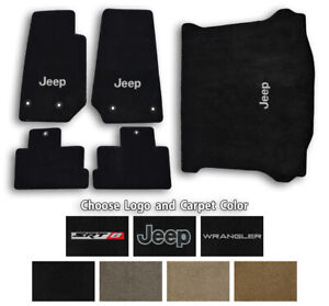 Jeep Wrangler Ultimats Carpet 5pc Floor Mat Set - Choose Color & Logo