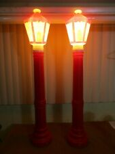 "Vintage Empire 40"" Red LAMP POST STREET LIGHT Lighted Christmas Blow Molds SET(B"