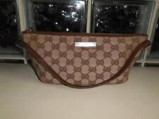 Vintage Gucci Brown Leather GG Monogram Baguette Pouch Handbag