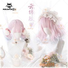 Pink Blue Gradient Sweet Harajuku Kawaii Lolita Dolly Short Curly Hair Wigs #21