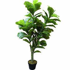 "4'6"" Real Touch Fiddle Leaf Fig Silk Tree w/Pot -90 Leaves -Green"