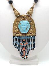 1920s Czech Egyptian Revival Brass Glass Pharaoh Bead Fringe Neiger Necklace