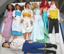 Disney Doll Lot Cinderella, Aladdin, Beauty & Beast,  Prince, Mermaid 7 Dolls