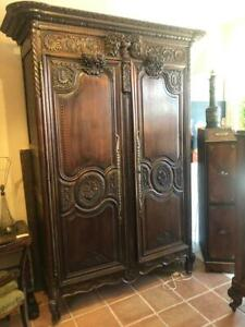 Antique Oak French Country Highly Carved Walnut Wedding Armoire