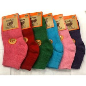 Women's Naturel Turkish Wool Multicolor Ankle Socks- 6 Pairs Pack Winter