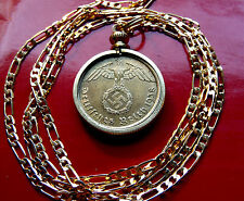 "GERMAN World WAR II Golden Brass Eagle Coin Pendant on a 24"" Gold Filled Chain"