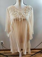 Perch By Blu Pepper Size XL Womens Blouse Sheer Flowy Batwing Sleeve Shirt Top