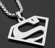 3mm 24'' Chain Necklace Stainless Steel Superman Pendant Silver for Men's Gifts