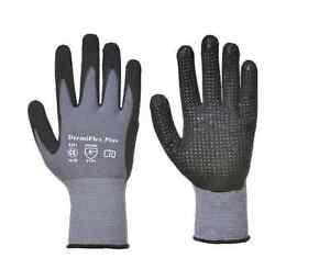 12 Pairs Portwest A351 Dermiflex Plus Safety Work Wear Gloves - PU/Nitrile Foam