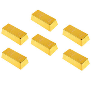 Set of 6 Fake Plastic Gold Bar Bullion Paper Weight Prop Table Decoration