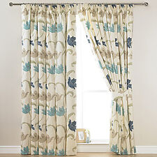 """KINSALE BLUE & CREAM FLORAL COTTON LINED 3"""" TAPE TOP CURTAINS + FREE TIE BACKS"""