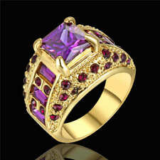 Size 8 Purple Amethyst Crystal Wedding Ring 18kt Yellow Gold Filled Jewelry