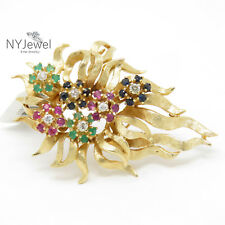 NYJEWEL 14K Yellow Gold 3ct Sapphire Ruby Emerald Diamond Brooch Pin
