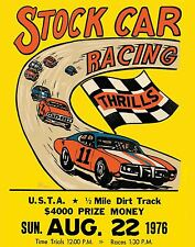 Vintage event POSTER  Rare    1976    Auto RACING    Nascar  short track