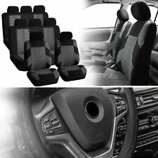 SUV 3row 8 seats Gray Seat Covers with Black Leather Steering Wheel Cover Combo