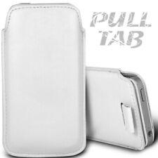 Étui Languette Pull-Up Apple iPhone 5-5S-5C Blanc Film Offert