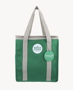 New Whole Foods Market Reusable Insulated Hot / Cooler Green Shopping Bag Zipper