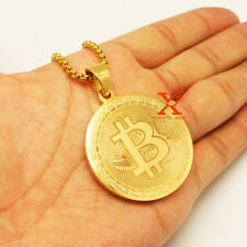 """24"""" Men's Stainless Steel Gold Round Bitcoin QR Pendant Necklace 3mm Box Chain"""
