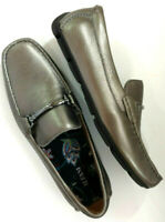 Alfani Mens Dress Loafer Shoes Pewter Silver Leather Drivers Slip On Casual