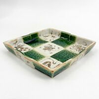 Vintage Signed Art Studio Pottery Geometric Candy Trinket Dish Basket Weave