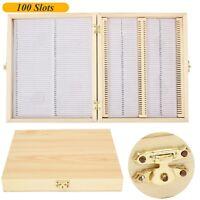 100 Slots Wooden Microscope Glass Slides Case Box Holder Storage Specimen Wood