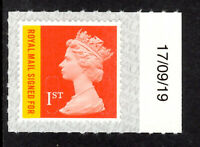 GB 2019 RECORDED SIGNED FOR CODE M19L SBP2i 17/09/19.U3049 Date/Plate/Colour Tab